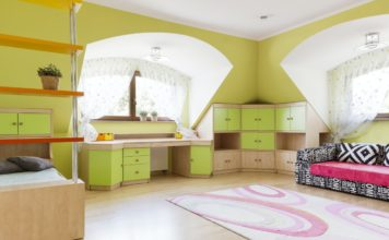 Green child room with couch